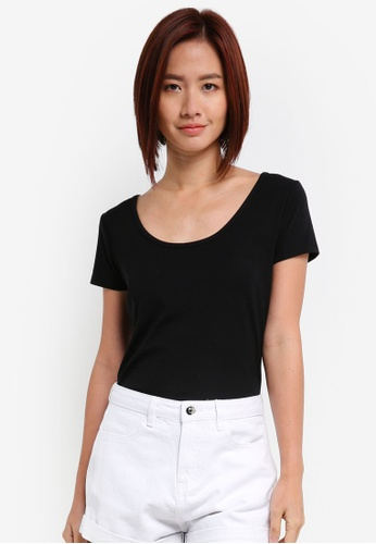 ZALORA black Scoopneck Tee With Back Straps 923A4AA34B7033GS_1