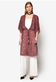 Premium 蕾絲拼接束腰長版和風外套