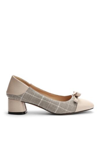 Twenty Eight Shoes 米褐色 小方頭花呢麻布高踭鞋 1522-1 67C82SHB73A886GS_1