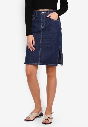 ZALORA BASICS blue Denim Knee Length Skirt With Back Slit E235AAAB9C968BGS_1