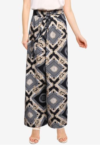 Quiz black Scarf Print Trousers 46905AA8E4AD8EGS_1