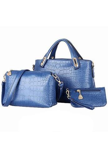LULUGIFT blue Lulumono Faux Crocodile Leather Bags Set Of 3 Gem Blue LU989AC71NTGMY_1