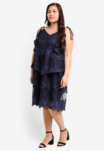 LOST INK PLUS navy Plus Size Wardrobe Swing Dress In Lace 339B3AABEC8476GS_1