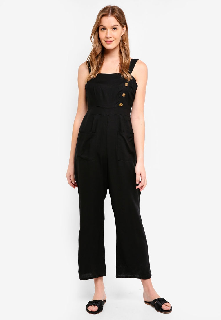 Jumpsuit On Flare Fran Strappy Black Cotton Woven Leg x8q4wqCp