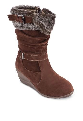 仿毛楔型跟中筒靴, 女鞋, 靴esprit童裝門市子