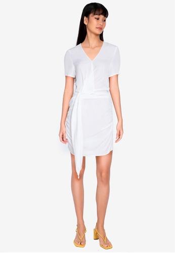 ZALORA BASICS white Short Sleeve Drape Front Dress AA1F8AA7A26579GS_1