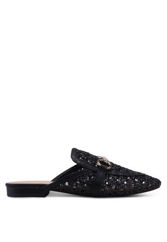 TOPSHOP black Liza Woven Flat Open Back Loafers 5A292SH3606BDFGS_1
