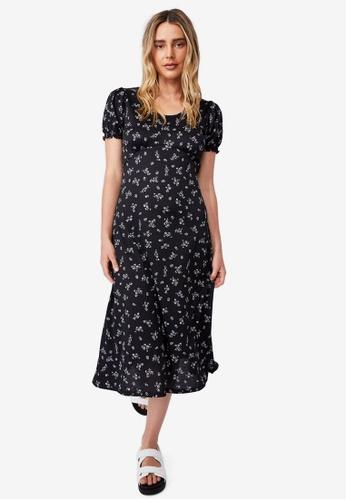 Cotton On black Elina Short Sleeve Midi 8F764AA53DCD05GS_1