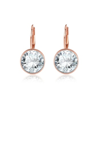 Glamorousky white Simple Fashion Plated Rose Gold Geometric Round Earrings 8B886AC3A64A00GS_1