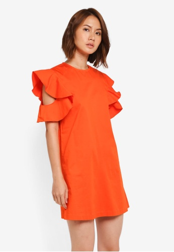 ZALORA orange Ruffles Sleeve Shift Dress 7DA8DAAE0AF551GS_1
