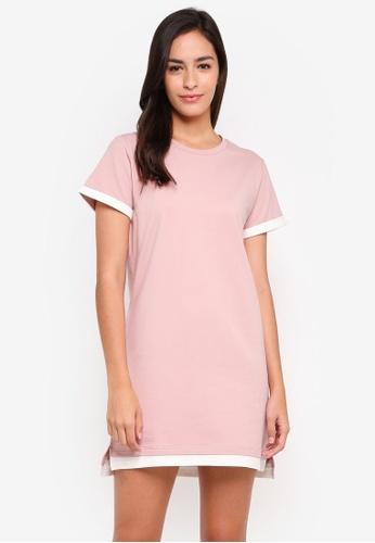 Something Borrowed white Contrast Panelled Tee Dress 95718AA4ED9ECCGS_1