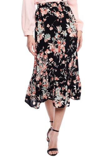 Nichii black Bohemian Floral Midi Skirt AE199AAF216912GS_1