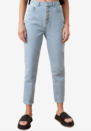 Trendyol blue Front Button High Waist Jeans E09CCAA760796DGS_1