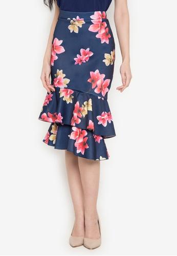 Hug multi and navy Asymmetric Ruffled Skirt HU902AA0JUNGPH_1