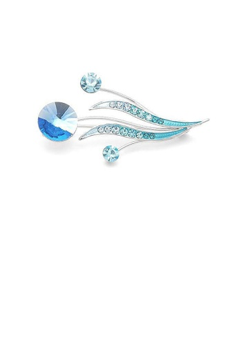 Glamorousky blue Flower Buds and Leaves Brooch with Blue Austrian Element Crystals and Crystal Glass 4B804ACF4E7D82GS_1