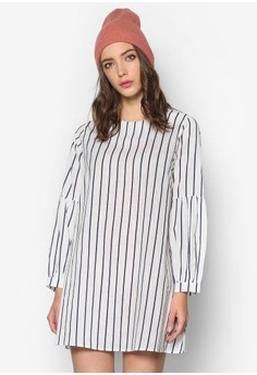Poly Cotton Pinstripe Dress with Ruffled Sleeves
