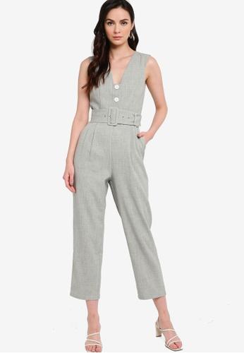 ZALORA WORK grey Peg Leg Tailored Jumpsuit With Belt 59E3CAAE88F432GS_1