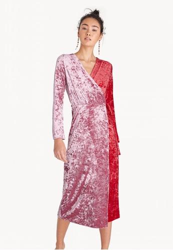758267b1d062 Shop Pomelo Midi Two Tone Velvet Wrap Dress - Pink Online on ZALORA ...