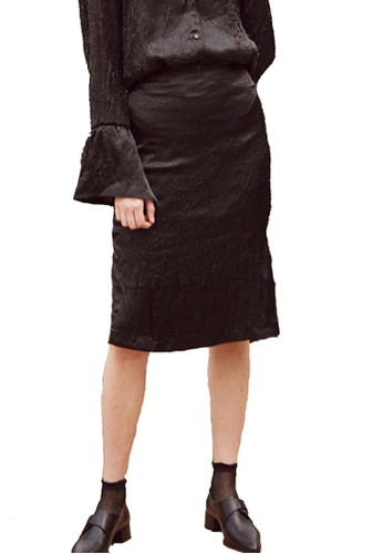 17SSesprit官網褶皺黑裙, 服飾, 裙子
