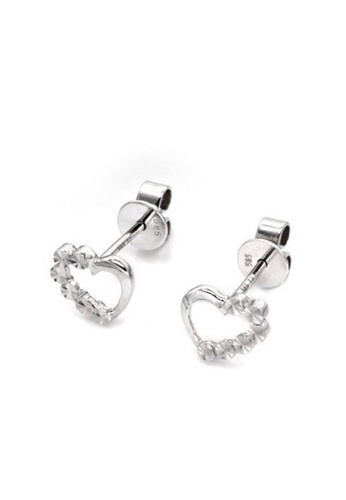 MaBelle silver 14K White Gold Heart Stud Earrings 3961CACBAD6057GS_1