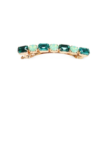 Glamorousky green Fashion and Simple Plated Gold Geometric Green Cubic Zirconia Hair Clip B861EAC50DFE95GS_1