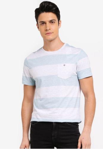 Burton Menswear London green Mint Block Striped T-Shirt CB56CAA423A57DGS_1