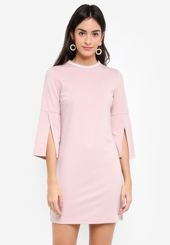 ZALORA white and pink Open Sleeves Bodycon Dress 527EAAA884CAD0GS_1