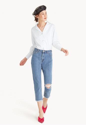 Pomelo blue Cropped Knee Slit Boyfriend Jeans BCC57AA21F1463GS_1