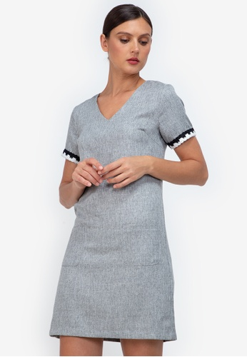 ZALORA WORK grey V Neck Trim Detail Dress 19E1BAA7916082GS_1