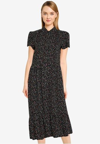 Dorothy Perkins black Black Based Multi Spot Print Short Sleeve Smock Style Shirt Dress 98134AAFB5D9D4GS_1