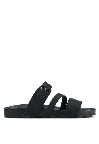 ZALORA black Faux Leather Sandals 6A023SHC45E419GS_1
