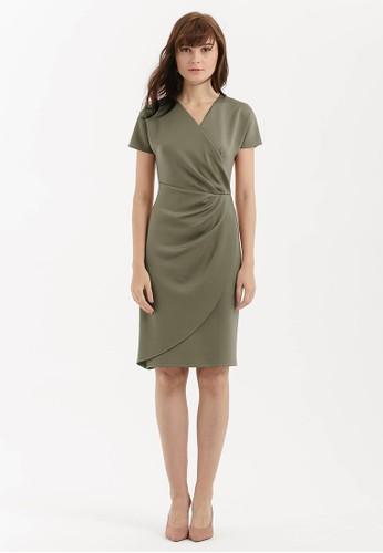 Cloth Inc green Pleated Overlap Scuba Dress in Olive A574EAA8464F6EGS_1