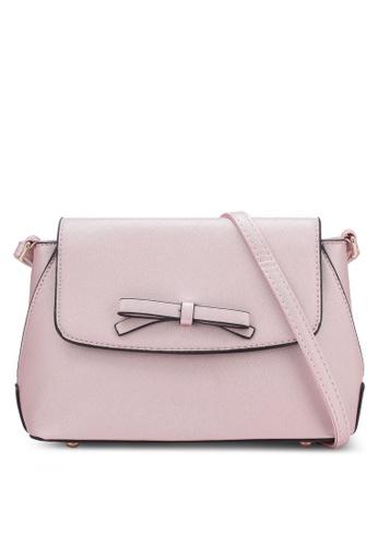 Velvet pink Small Crossbody Bag With Bow 2E3F9ZZ9554DA0GS_1