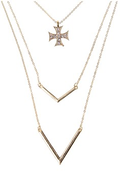 Multi-Layer Cross with Stones Chain Necklace