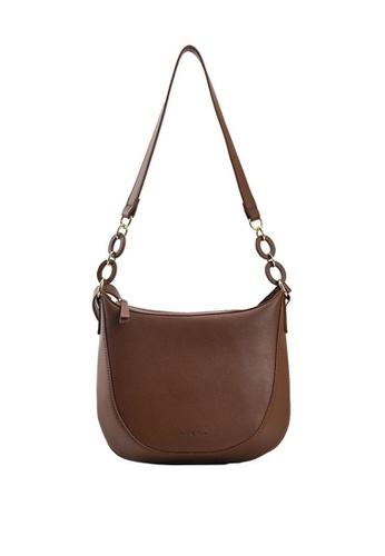 Lara brown Women's Plain PU Leather Zipper Cross-body Bag - Brown 4D406AC624C00BGS_1