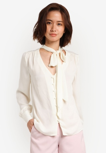 ZALORA white Tie Neck Button Down Top 14572AA3BF111CGS_1