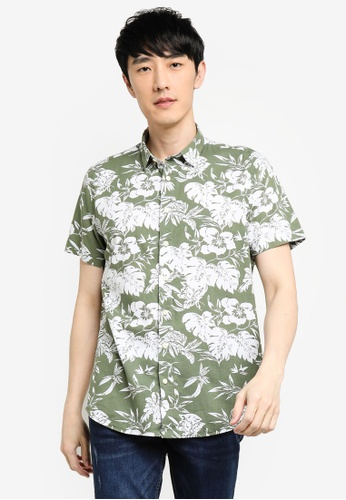 KOTON green Tropical Shirt 54579AA0C4CDC3GS_1