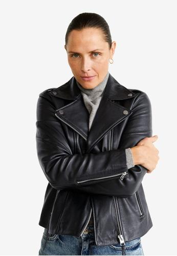 Mango black Leather Biker Jacket 182B3AA533280CGS_1