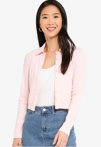 ZALORA BASICS 粉紅色 Collared 鈕釦-Down 罩衫 4F060AA3C68BBAGS_1