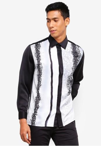 Gene Martino black and white Men's Batik Shirt A3191AA8F49CD0GS_1