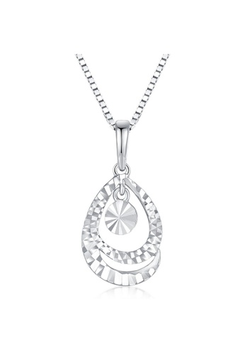 MaBelle silver 14K 585 White Gold Diamond Cut Teardrop Pendant Necklace EDE54ACDDA4EE1GS_1