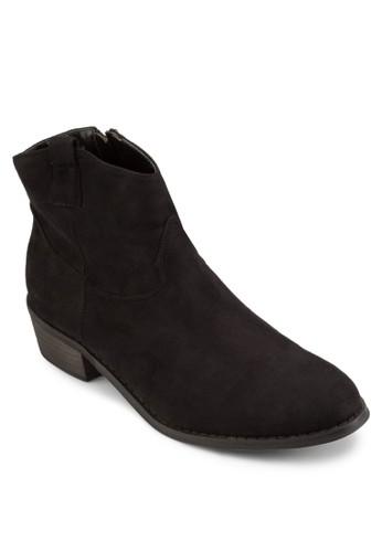 木製粗跟布料踝靴, zalora 台灣女鞋, 鞋
