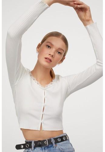 H&M white Ribbed top 5C182AA2B0B209GS_1