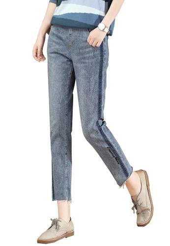 A-IN GIRLS blue Elastic Waist All-Match Jeans 4A28BAAD707E87GS_1