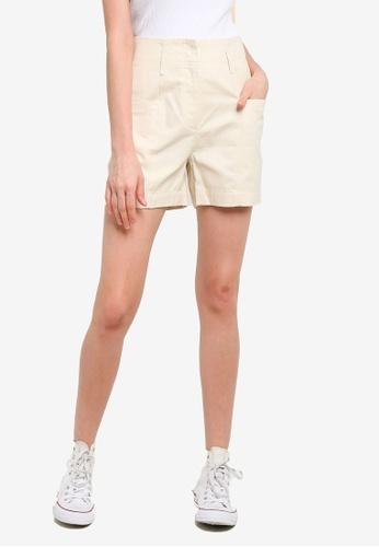 PIMKIE beige High Waist Structured Shorts E247DAAF886A50GS_1