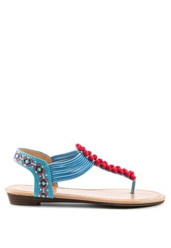 London Rag blue Teddi Flat Toe Post Sandals 4062BSH0FDC6D1GS_1