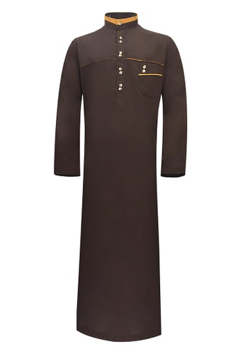 Pacolino brown Pacolino - Plain Formal Casual Long Sleeve Kid Jubah 6D46CKAB7BD01FGS_1