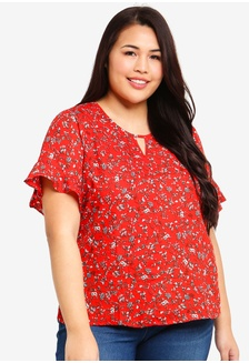 f7d14604e3ce7 Plus Size Frilly Sleeve Flora Blouse 36428AAD52B603GS 1