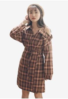 13d8785bc49b6 Tokichoi brown Plaid Off-Shoulder Dress 1D6B8AA0EC1217GS 1
