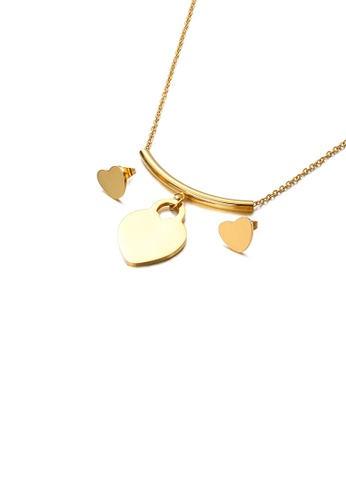 Glamorousky silver Fashion and Simple Plated Gold Heart-shaped 316L Stainless Steel Necklace and Stud Earrings Set EFF82AC709EC62GS_1